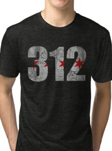 Vintage Chicago Flag 312  Tri-blend T-Shirt