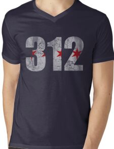 Vintage Chicago Flag 312  Mens V-Neck T-Shirt