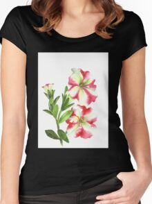White and Pink Petunias Women's Fitted Scoop T-Shirt