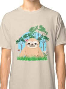 Super Cute Sloth sitting on the grass.  Classic T-Shirt