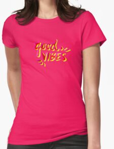 Good Vibes – Pink & Yellow Womens Fitted T-Shirt