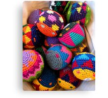 """""""Knitted Hackey-Sack Balls"""" Canvas Print"""