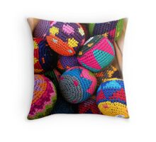 """Knitted Hackey-Sack Balls"" Throw Pillow"