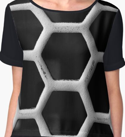Honeycomb Grid Chiffon Top