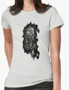 Punk looking over shoulder Womens Fitted T-Shirt