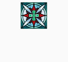 Teal and Red Stained Glass Unisex T-Shirt
