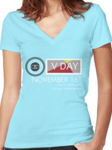 Support V-Day Women's Fitted V-Neck T-Shirt