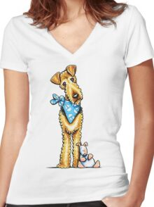 Airedale Terrier & Puppy Women's Fitted V-Neck T-Shirt