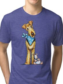 Airedale Terrier & Puppy Tri-blend T-Shirt