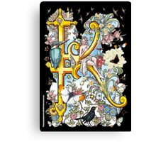 """The Illustrated Alphabet Capital  K  """"Getting personal"""" from THE ILLUSTRATED MAN Canvas Print"""