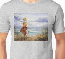 Girl Ocean Beach Sailboat Birds and Seashell Unisex T-Shirt