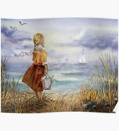 Girl Ocean Beach Sailboat Birds and Seashell Poster