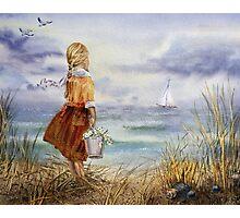 Girl Ocean Beach Sailboat Birds and Seashell Photographic Print