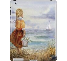 Girl Ocean Beach Sailboat Birds and Seashell iPad Case/Skin