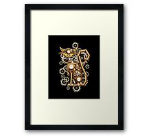 Steampunk Cat Vintage Copper Toy Framed Print
