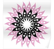 Pink And Black Modern Floral Pattern Poster