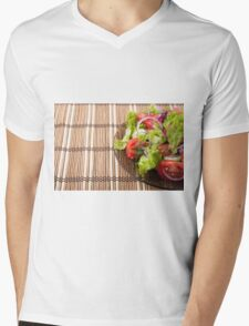 Vegetarian salad from fresh vegetables on a bamboo mat Mens V-Neck T-Shirt