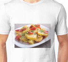 Closeup view of a vegetarian dish of stewed potatoes Unisex T-Shirt