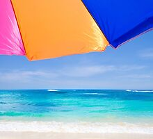 Beach umbrella by the ocean by ellensmile