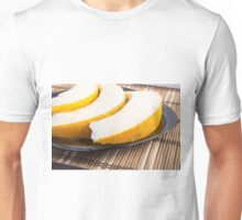 Slices of juicy yellow melon on a black plate closeup Unisex T-Shirt