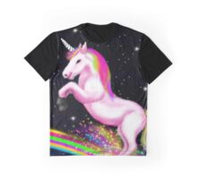 Fluffy Pink Unicorn Dancing on Rainbows Graphic T-Shirt