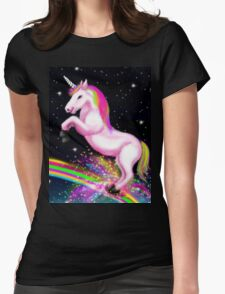 Fluffy Pink Unicorn Dancing on Rainbows Womens Fitted T-Shirt