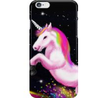 Fluffy Pink Unicorn Dancing on Rainbows iPhone Case/Skin