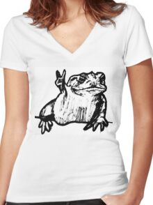 Toad of Peace Women's Fitted V-Neck T-Shirt