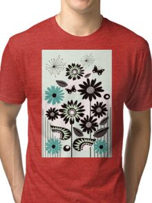 Cute flowers, leaves, butterflies and stripes Tri-blend T-Shirt
