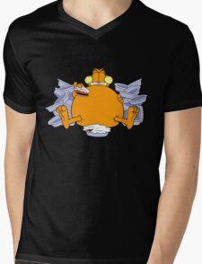 Garfield Eat Cake Mens V-Neck T-Shirt