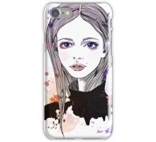 Girl with pink hair iPhone Case/Skin