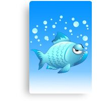 Grumpy Fish Cartoon Canvas Print