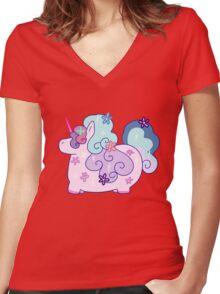 Fat Flowery Rainbow Unicorn Women's Fitted V-Neck T-Shirt