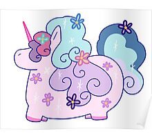 Fat Flowery Rainbow Unicorn Poster