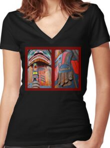TOTEM DIPTYCH Women's Fitted V-Neck T-Shirt