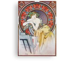 Alphonse Mucha - Femme Au Carton Dessinsgirl With Easel Canvas Print