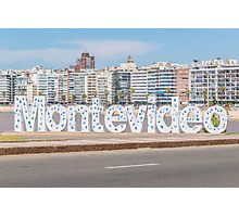 Montevideo Letters at Pocitos Beach Photographic Print