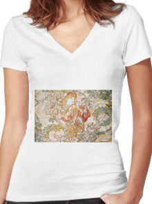Alphonse Mucha - Femme La Margueritewoman With Daisy Women's Fitted V-Neck T-Shirt