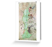 Alphonse Mucha - Hiverwinter 2 Greeting Card