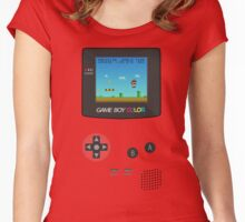 Nintendo Game Boy Super Mario Girly Women's Fitted Scoop T-Shirt