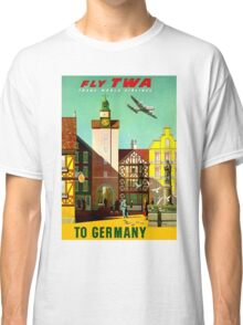 """TWA AIRLINES"" Fly to Germany Advertising Print Classic T-Shirt"