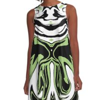 Green in to Black and White A-Line Dress