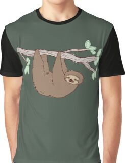 Sloth Climbing a Tree Branch Graphic T-Shirt