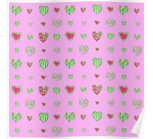 For the love of Watermelon - pink background Poster
