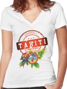 TAHITI Cool Beach Women's Fitted V-Neck T-Shirt