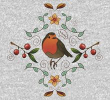 Autumn Robin Pattern One Piece - Long Sleeve