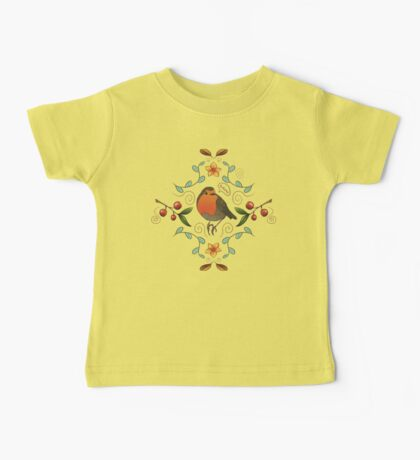 Autumn Robin Pattern Baby Tee