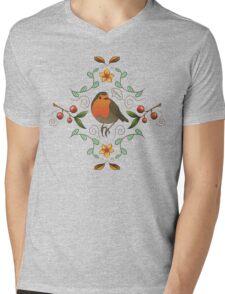 Autumn Robin Pattern Mens V-Neck T-Shirt