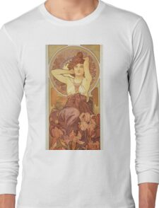 Alphonse Mucha - Amethyst Long Sleeve T-Shirt