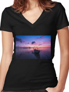 Boat at sunset Women's Fitted V-Neck T-Shirt